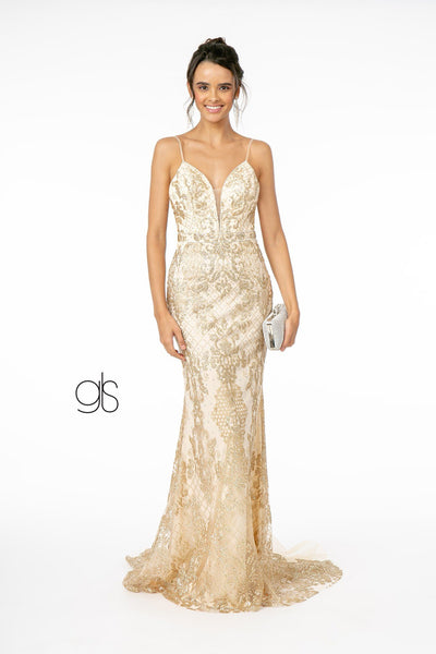 Long V-Neck Glitter Mermaid Dress by Elizabeth K GL1843
