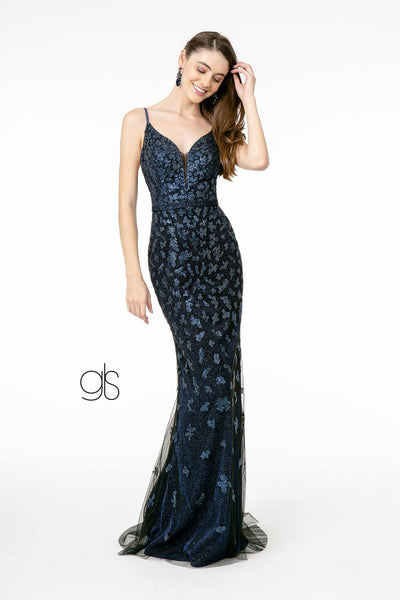 Long V-Neck Glitter Mermaid Dress by Elizabeth K GL2917