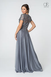 Long V-Neck Lace Bodice Dress with Short Sleeves by Elizabeth K GL2829-Long Formal Dresses-ABC Fashion