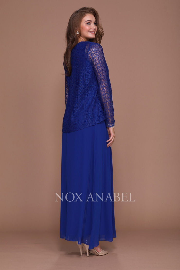 Long V Neck Lace Dress with Jacket by Nox Anabel 5140-Long Formal Dresses-ABC Fashion