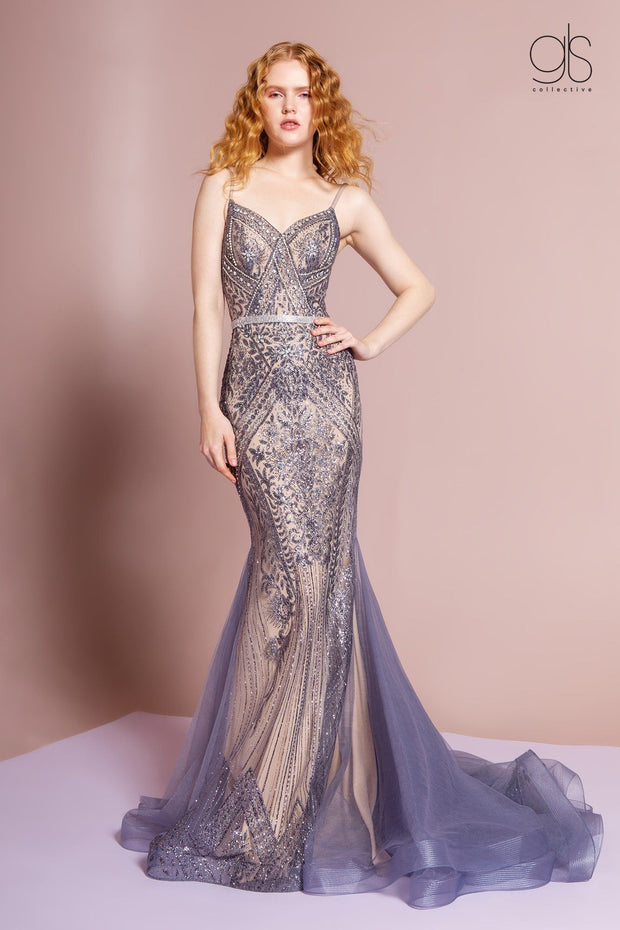 Long V-Neck Mermaid Dress with Train by Elizabeth K GL2679