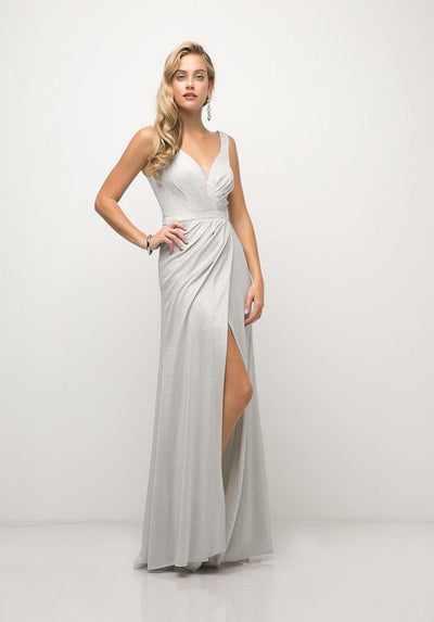 Long V-Neck Metallic Dress with Slit by Cinderella Divine CH551