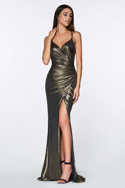 Fitted Long V-Neck Metallic Dress by Cinderella Divine CR825