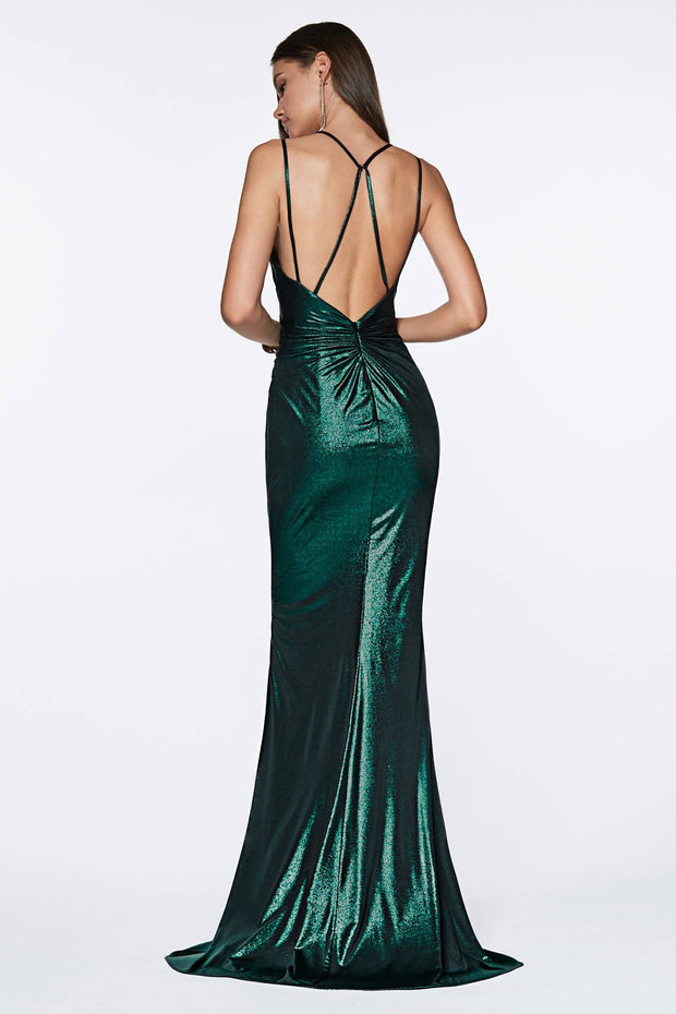Long V-Neck Metallic Dress with Slit by Cinderella Divine CR825-Long Formal Dresses-ABC Fashion