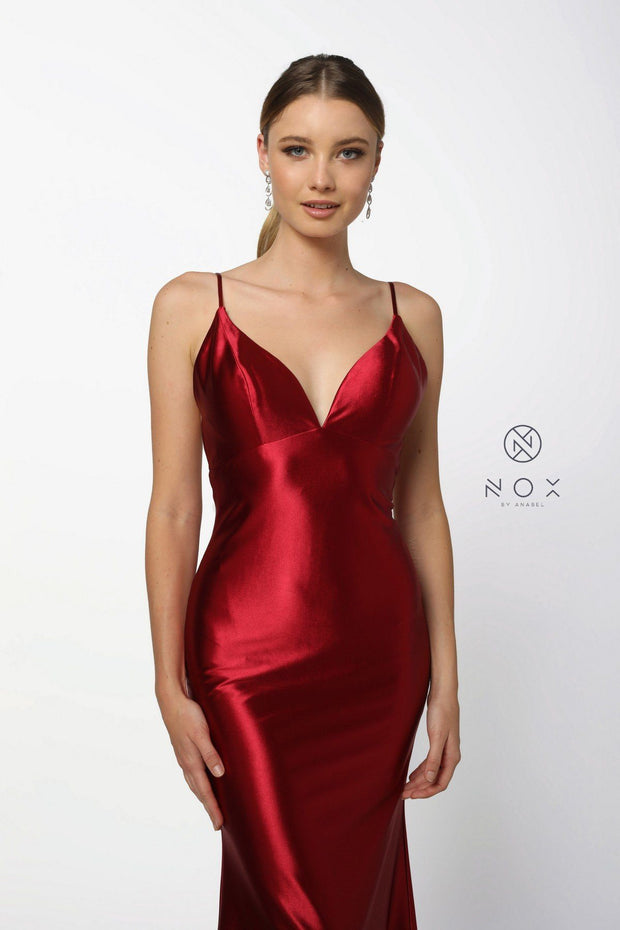 Long V-Neck Sleeveless Satin Dress with Open Back by Nox Anabel C227-Long Formal Dresses-ABC Fashion