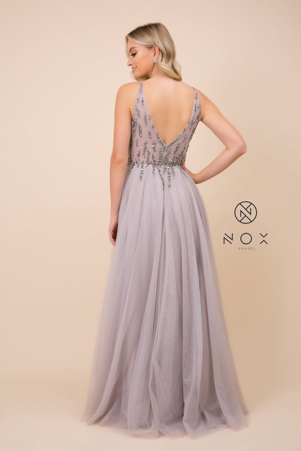 Long V-Neck Tulle Dress with Beaded Bodice by Nox Anabel J324