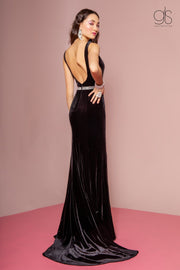 Long V-Neck Velvet Dress with Open Back by Elizabeth K GL2559-Long Formal Dresses-ABC Fashion