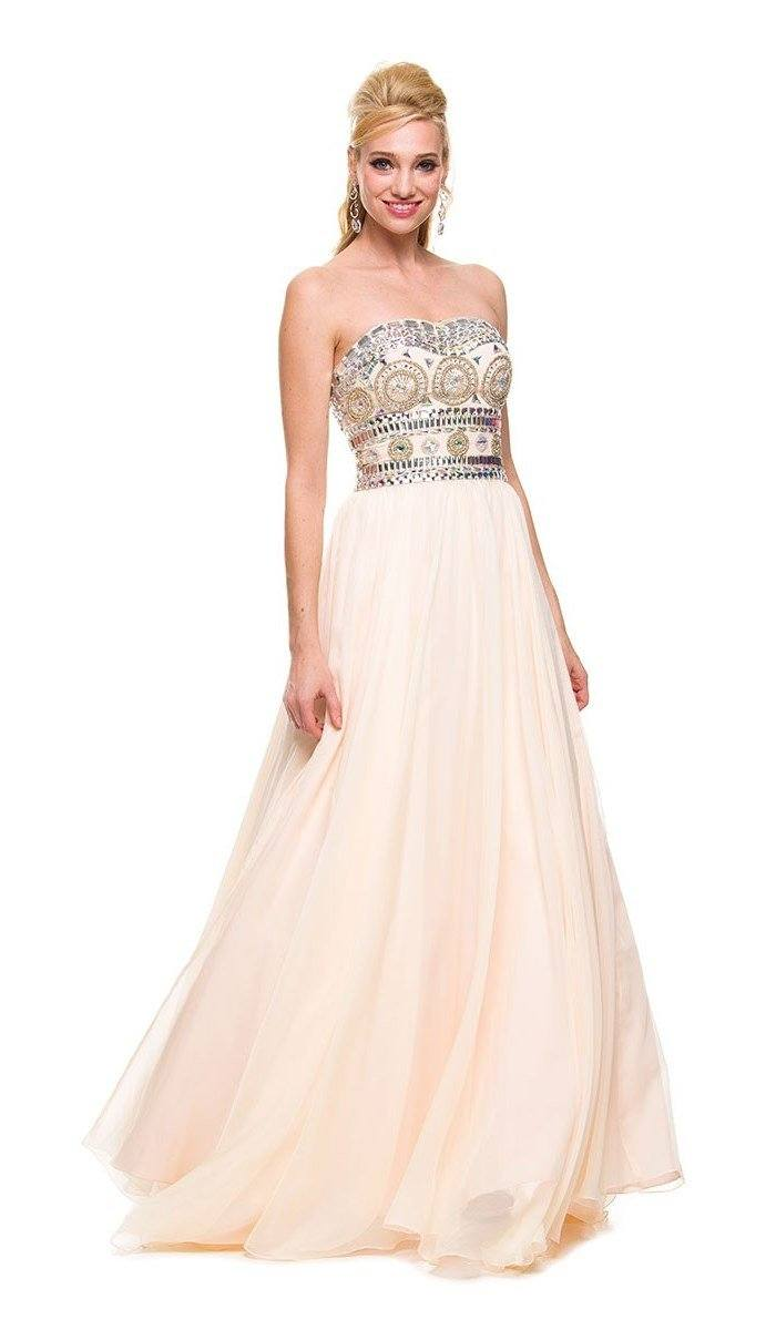 Lovely Long Strapless Beaded Dress by Nox Anabel 8153-Long Formal Dresses-ABC Fashion