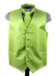 Men's Apple Green Striped Vest with Neck Tie-Men's Vests-ABC Fashion
