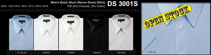Men's Basic Short Sleeve Dress Shirts-Men's Dress Shirts-ABC Fashion