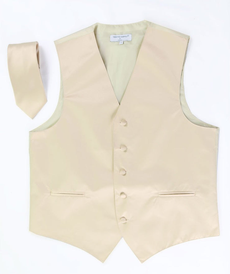 Men's Beige Satin Vest with Necktie-Men's Vests-ABC Fashion