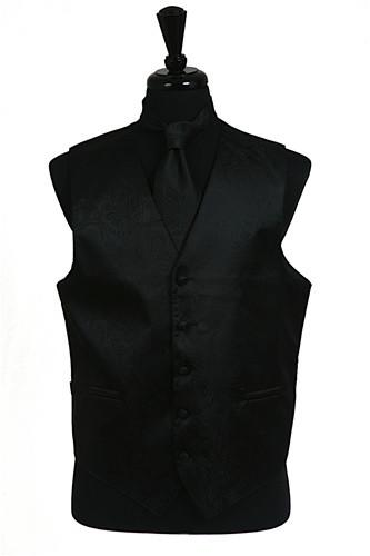 Men's Black Paisley Vest with Neck Tie-Men's Vests-ABC Fashion