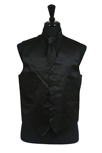Men's Black Satin Vest with Neck Tie-Men's Vests-ABC Fashion
