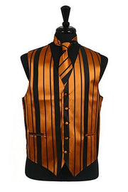 Men's Black/Gold Striped Vest with Neck Tie and Bow Tie-Men's Vests-ABC Fashion
