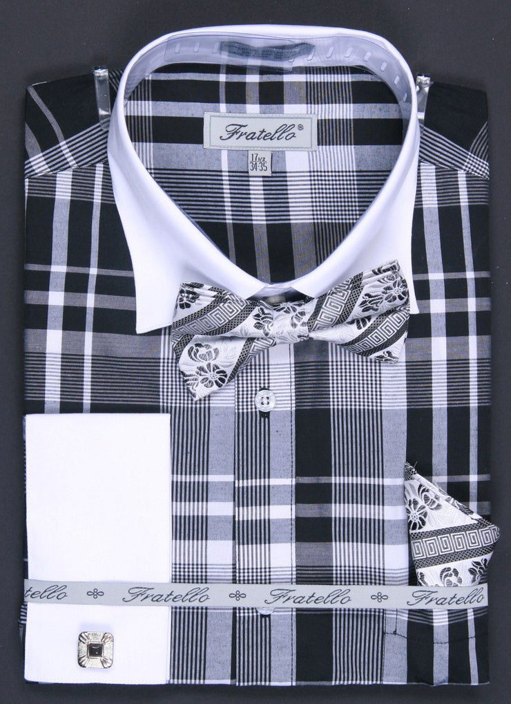 Men's Black/White Plaid Dress Shirts with Bow Tie, Hanky, Cuff Links-Men's Dress Shirts-ABC Fashion