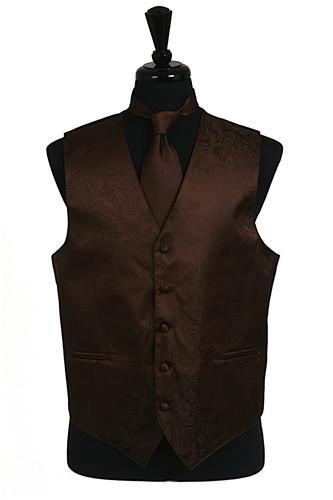 Men's Brown Paisley Vest with Neck Tie-Men's Vests-ABC Fashion