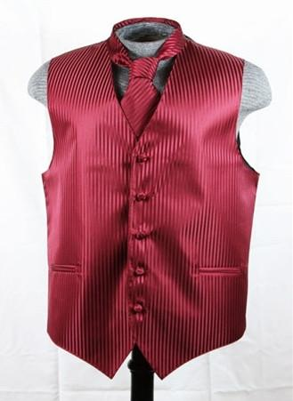 Men's Burgundy Striped Vest with Neck Tie-Men's Vests-ABC Fashion