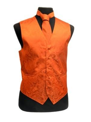 Men's Burnt Orange Paisley Vest with Neck Tie-Men's Vests-ABC Fashion