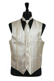 Men's Champagne Striped Vest with Neck Tie and Bow Tie-Men's Vests-ABC Fashion