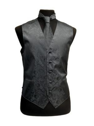 Men's Charcoal Paisley Vest with Neck Tie-Men's Vests-ABC Fashion