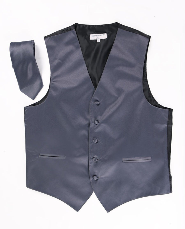 Men's Charcoal Satin Vest with Necktie-Men's Vests-ABC Fashion