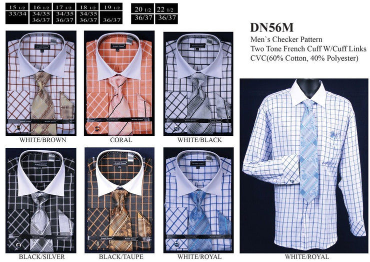 Men's Checkered Dress Shirts with Tie, Hanky, Cufflinks-Men's Dress Shirts-ABC Fashion