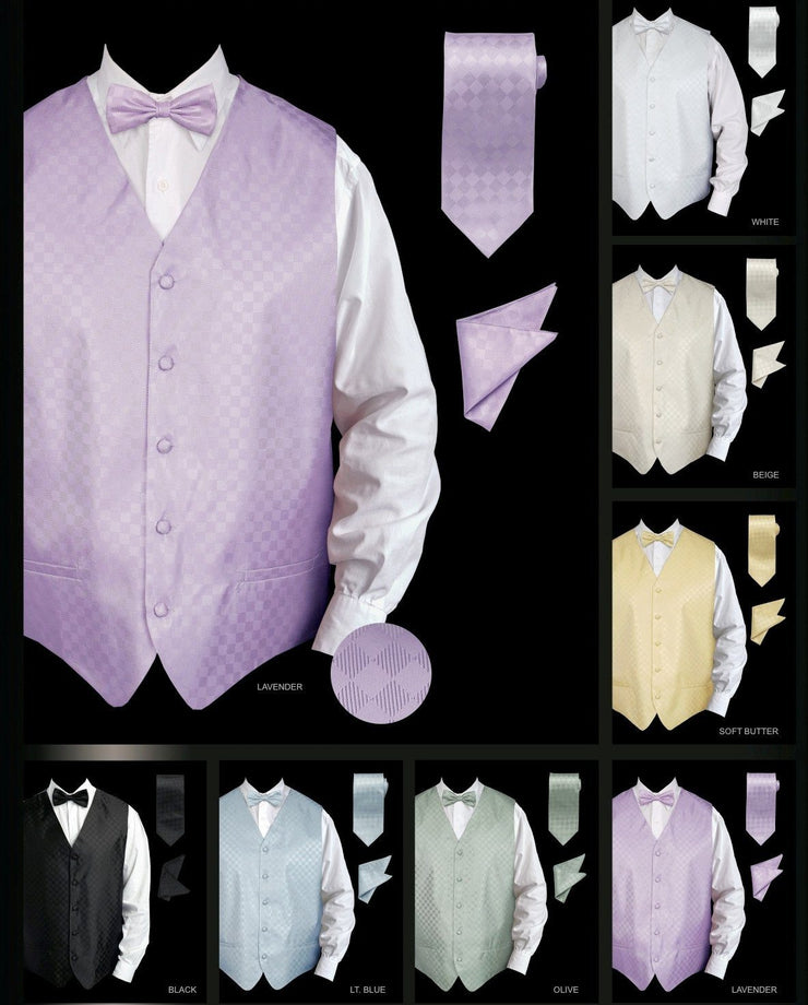 Men's Checkered Vest with Tie, Bow Tie, Pocket Square-Men's Vests-ABC Fashion