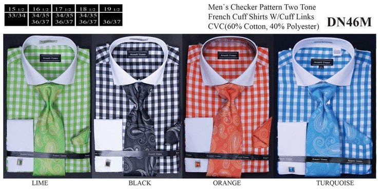 Men's Classic Checkered Dress Shirts with Tie, Hanky, Cufflinks-Men's Dress Shirts-ABC Fashion