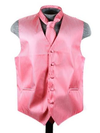 Men's Coral Pink Striped Vest with Neck Tie-Men's Vests-ABC Fashion