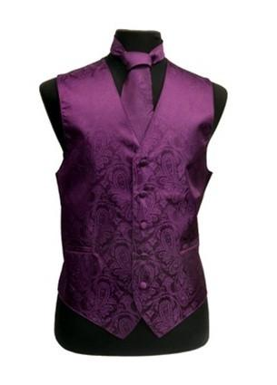 Men's Eggplant Paisley Vest with Neck Tie-Men's Vests-ABC Fashion