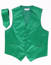 Men's Emerald Green Satin Vest with Necktie-Men's Vests-ABC Fashion