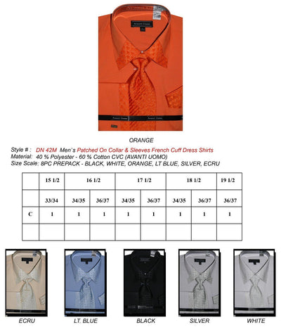 Men's French Cuff Dress Shirts with Patched Collar and Sleeves-Men's Dress Shirts-ABC Fashion