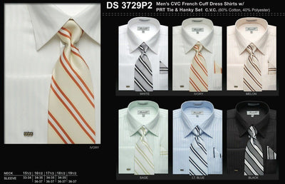 Men's French Cuff Dress Shirts with Striped Tie and Hanky-Men's Dress Shirts-ABC Fashion