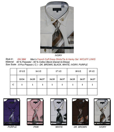 Men's French Cuff Shirts with Tie, Cuff Links, Hanky-Men's Formal Wear-ABC Fashion