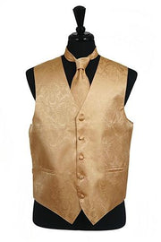 Men's Gold Paisley Vest with Neck Tie-Men's Vests-ABC Fashion
