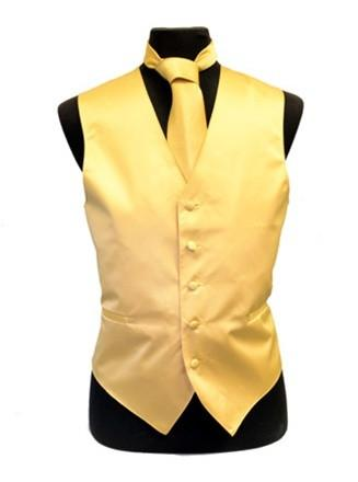 Men's Gold Satin Vest with Neck Tie-Men's Vests-ABC Fashion