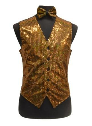 Men's Gold Sequined Vest with Bow Tie-Men's Vests-ABC Fashion