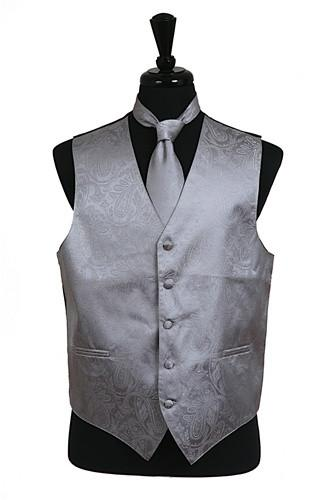 Men's Gray Paisley Vest with Neck Tie-Men's Vests-ABC Fashion