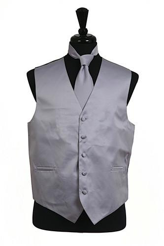 Men's Gray Satin Vest with Neck Tie-Men's Vests-ABC Fashion