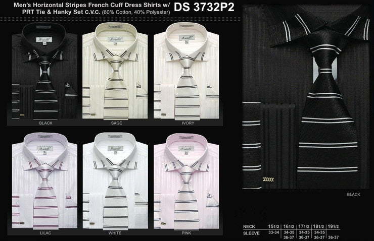 Men's Horizontal Stripes Dress Shirts with Tie and Hanky-Men's Dress Shirts-ABC Fashion