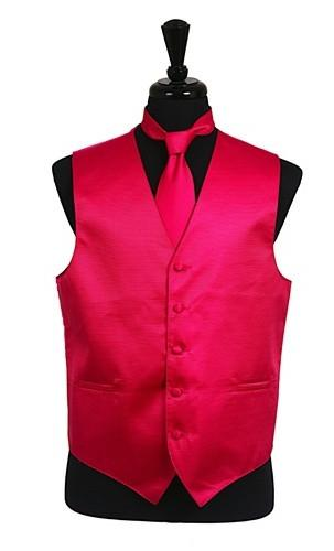 Men's Hot Pink Satin Vest with Neck Tie-Men's Vests-ABC Fashion