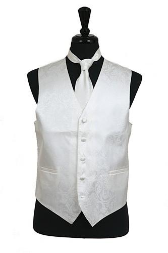 Men's Ivory Paisley Vest with Neck Tie-Men's Vests-ABC Fashion