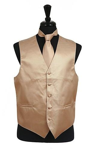 Men's Ivory Satin Vest with Neck Tie-Men's Vests-ABC Fashion