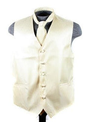 Men's Ivory Striped Vest with Neck Tie-Men's Vests-ABC Fashion
