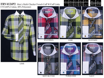 Men's Large Plaid Pattern Dress Shirts with Tie, Hanky, Cufflinks-Men's Dress Shirts-ABC Fashion
