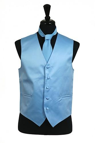 Men's Light Blue Satin Vest with Neck Tie-Men's Vests-ABC Fashion