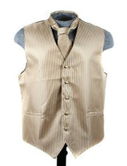 Men's Mocha Brown Striped Vest with Neck Tie-Men's Vests-ABC Fashion