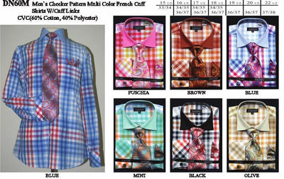 Men's Multi-Color Checkered Dress Shirts with Tie, Hanky, Cufflinks-Men's Dress Shirts-ABC Fashion