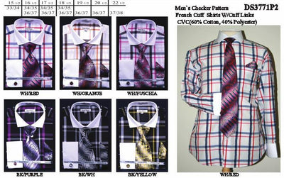 Men's Multi Colored Checkered Dress Shirts with Tie, Hanky, Cufflinks-Men's Dress Shirts-ABC Fashion