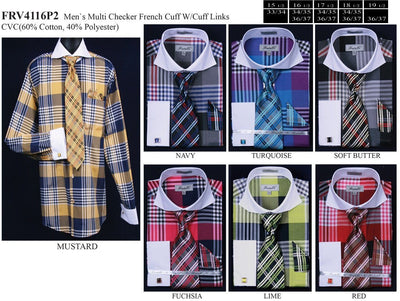 Men's Multi Colored Plaid Dress Shirts with Tie, Hanky, Cufflinks-Men's Dress Shirts-ABC Fashion